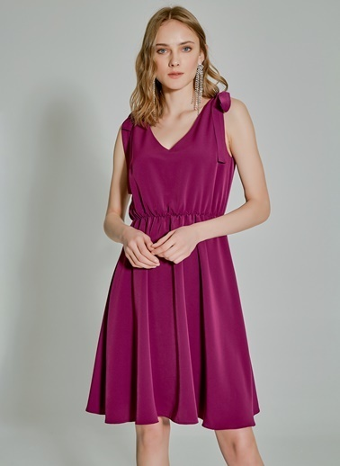 People By Fabrika Askısı Bağlamalı Elbise Mor